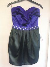 Lipsy Black/Purple Chiffon/satin Strapless Ruffle Front Dress Size 8
