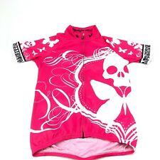 Betty Designs pink skull full zip jersey women's medium