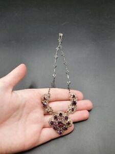 Vintage Antique 1930s Czech Purple Glass Filigree Necklace