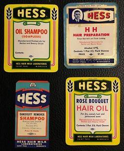 VTG Vintage Lot Hair Salon Barber Shop Hess Rose Shampoo Oil Advertising Labels