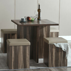 Woodyhome Dining Set Table With 4 Storage Stools Chair Ottomans Kitchen Dinette