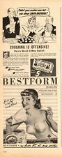 1946 Ads Two for One Sale BESTFORM Bras Pinup & Smith Bros. Cough Drops  081420