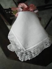 Antique Handkerchief Monogram S Valenciennes Lace Bridal Wedding Keepsake