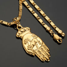 """MENS 24K GOLD FILLED HAND PENDANT NECKLACES CHAIN JEWELLRY 24""""-Embossed Horse"""