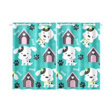Happy Dog Pattern With Paw Print and Bone Kitchen Curtains 26x39 in (set of 2pc)