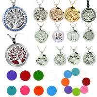Lot Diffuser Locket Pendant Aromatherapy Essential Oil Perfume Necklace Jewelry