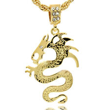 """Mens 16K Gold Plated Dragon HIp Hop Fashion Pendant  With 4mm/24"""" Rope Chain1131"""