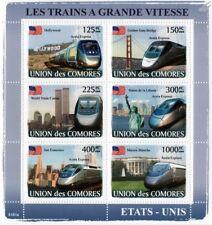 The HIGH SPEED TRAINS of USA (AMTRAK Acela Express) Stamp Sheet (2008 Comoros)