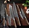 Küchenmesser 18 cm Japanisches Profimesser Carbon Edelstahl Damaskus Optik
