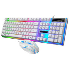 Led Light Backlit Computer Desktop Gaming Wired Keyboard With Mouse Mechanical