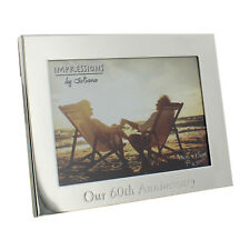 """Our 60th Diamond Wedding Anniversary Silverplated Photo Frame Gift Box 7 x 5 """""""