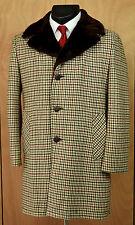 Vtg Towncraft Tweed Wool Houndstooth Overcoat -40- Faux Fur Jacket Coat