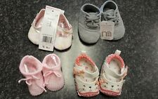 Cute lot of Newborn Baby Girl's Shoes Booties Mothercare 0-3 Months New.