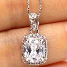 Large 5 Ct Cushion White Moissanite Halo Necklace Women Engagement Jewelry Gift
