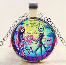 Nightmare Before Christmas Cabochon silver Glass Chain Pendant Necklace #5949