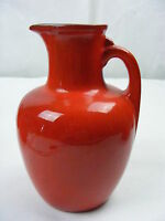 """Vintage Frankoma Pottery Red Orange Clay 7"""" Pitcher Jug with Cork # 8"""