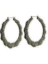 BAMBOO DoorKnocker HOOP Statement Earrings CRYSTAL Hematite OL' SKOOL BIG Hoops