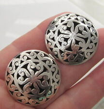 Estate Vintage Large Shadow Box Dome Sterling Silver Mexcico Screw On Earrings