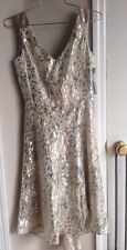Nwt Tahari Tan Dress With Gold Leopard Print Blue Pops Sequin Straps Size 2