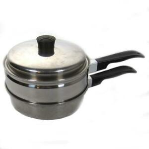 Vintage Lustre Craft 18 8 Stainless Steel Steamer Saucepan With Lid 3 Pieces