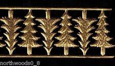 Fir Christmas Tree Antique Gold Embossed Scrap Dresden Ornament Putz Cardmaking