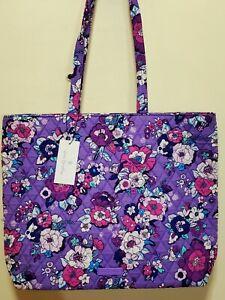 VERA Bradley ENCHANTED GARDEN Purple floral Essential Tote shoulder shopper bag