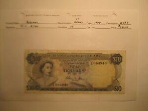 Rare 1974 Bahamas $10 Dollar Bank Note Signature W. C. Allen KM # 38b Very Fine