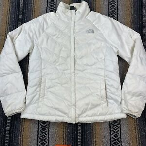 The North Face 550 Quilted White Full Zip Down Jacket Womens Size Large