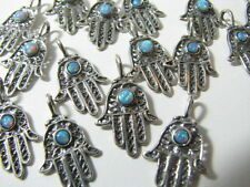 30 pcs Sterling Silver Hamsa Hand Charms with Opal Beads Pendants Real Solid 925
