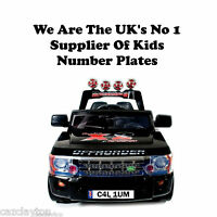 "PERSONALISED NUMBER PLATE FOR KIDS RIDE ON CAR""ROCKET RS SPORT JEEP RANGE ROVER"""