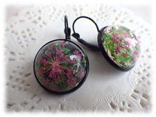 Ohrringe Dillblüte Ohrhänger echte Blüten Cabochon schwarz pink türkis Folklore