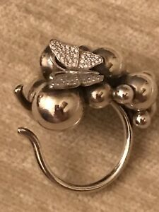 Georg Jensen Moonlight Grape Large Ring With 18ct Gold  Diamond Butterfly. Rare