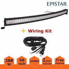 """50"""" LED Work Light Bar 288W Curved Truck Offroad SUV Boat Driving Jeep+ Wiring"""