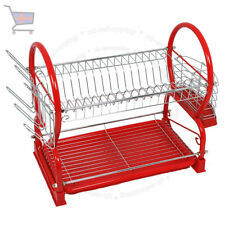 2 TIER CHROME PLATE DISH CUTLERY CUP DRAINER RACK DRIP TRAY HOLDER RED UKES