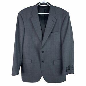 Jos A Bank Traveler Blazer Jacket Mens 44R Gray 100% Wool 2 Button Brand New