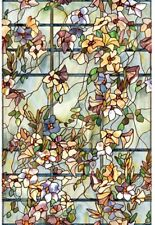 Floral Trellis Decorative Stained Glass Look Privacy Window Treatment Film 2x3