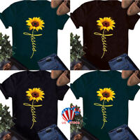 Womens Short Sleeve Sunflower Print T Shirt Ladies Summer Beach Casual Tee Tops