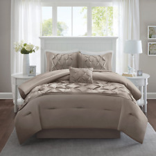 Comforter Shams Pillows Bed Skirt Sets Tufted Pattern Taupe King Size Cavoy 5pcs