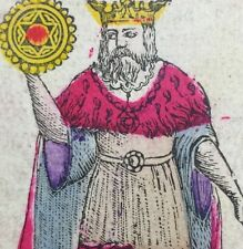 1868 King of Pentacles Artisan Colour Spanish Naipes Playing Cards Cadiz Single