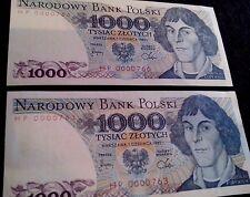 "série:HP.0000763 & 766"".1000 NARODOWY BANK POLSKI  2billets NEUF"