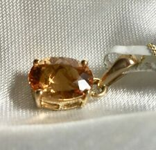 "9K Gold, Imperial Topaz Pendant, 1.5 Ct AAA, 18"" 9K Gold Chain"