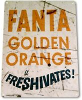 Fanta Golden Orange Pop Cola Soda Advertising Retro Wall Decor Metal Tin Sign