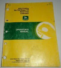 John Deere No Tillridge Till 885 Cultivator Operators Manual Jd Original 1988