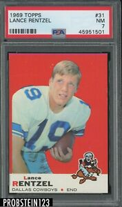 1969 Topps Football #31 Lance Rentzel Dallas Cowboys PSA 7 NM