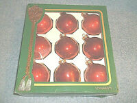 """SET OF 9 RAUCH VICTORIA COLLECTION 2 1/2"""" RED GLASS BALL CHRISTMAS ORNAMENTS"""