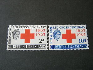 GILBERT & ELLICE ISLANDS  1963 RED CROSS  SET of 2 STAMPS  SG 80/1 MINT HINGED