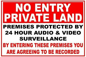 Pack 2 No Entry Private Land Self Adhesive Backed Sticker Signs - choice 3 sizes