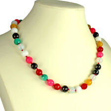 Semi precious rainbow colour agate faceted round bead gemstone choker necklace