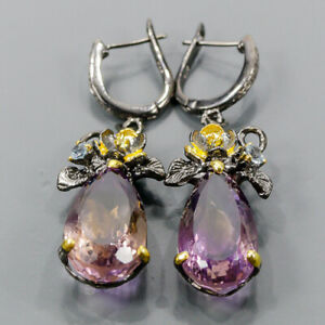 24ct+ Handmade SET Ametrine Earrings Silver 925 Sterling   /E57453
