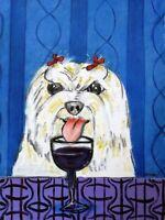 NEWFOUNDLAND DRINKING BEER  dog art print 8.5x11 artwork gift